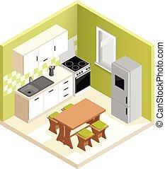 miniature, appartement, vecteur, illustration, cuisine