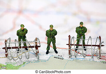 Border protection and immigration concept - Miniature border...
