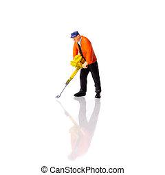 Miniature Builder worker with pneumatic hammer drill