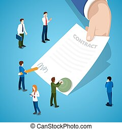 Miniature Business People Signing Contract. Partnership Agreement. Vector flat 3d isometric illustration