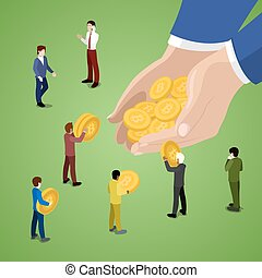 Miniature Business People with Bitcoins. Online Payment...