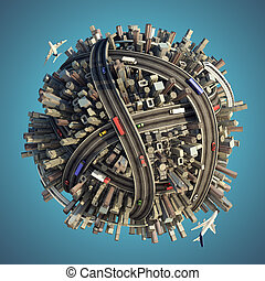 Miniature planet as concept for chaotic urban life isolated with clipping path