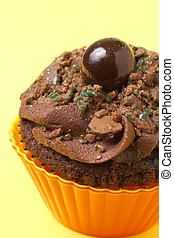Miniature chocolate cupcake