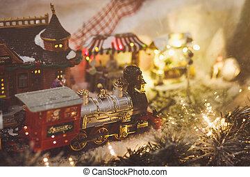 Miniature Christmas train