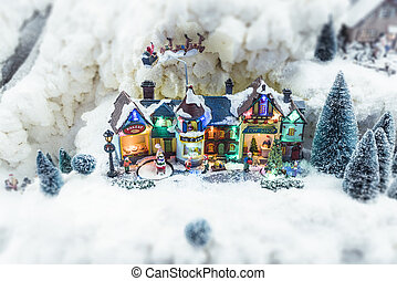 Miniature Christmas village in the winter