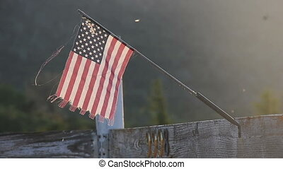 Miniature Country American Flag in a rural area