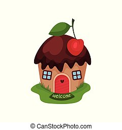 Miniature fantasy house in form of sweet cupcake with...
