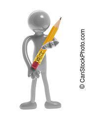 Miniature Figure Holding Pencil