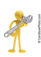 Miniature Figure Holding Spanner
