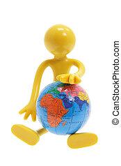 Miniature Figure with Globe
