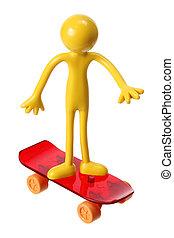 Miniature Figure with Skateboard