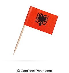 Miniature Flag Albania. Isolated on white background