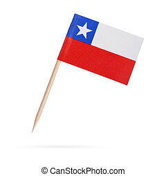 Miniature Flag Chile.Isolated on white background
