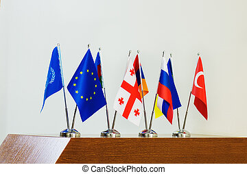 Miniature flags of countries.