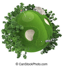 miniature golf planet concept with nice grass course, club ...