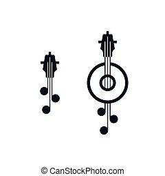 Miniature guitar icons fretboard symbol