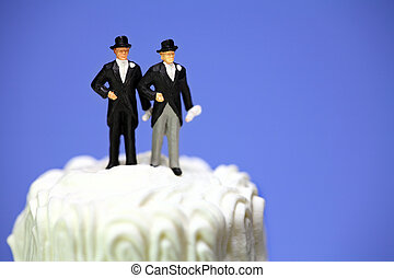 Miniature homosexual couple on a wedding cake
