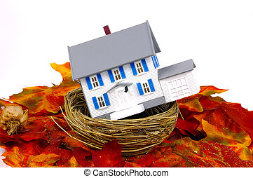 Nest - Miniature House in a Nest. Home Equity Concept.