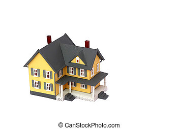 Miniature house isolated on white background with copyspace