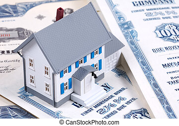 Mortgage - Miniature House on Mortgage Bonds