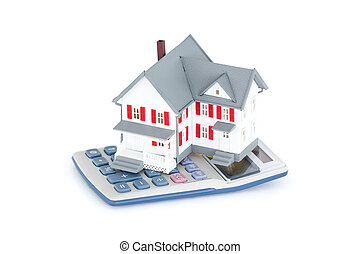 Miniature house with a calculator