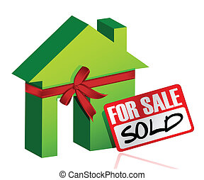 Miniature house with sign of sold or for sale illustration...