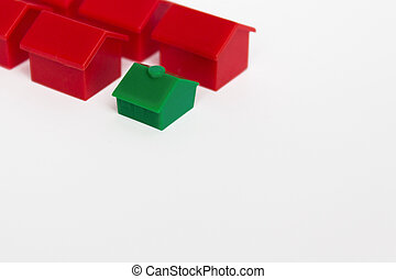 miniature houses ,toy houses on white background