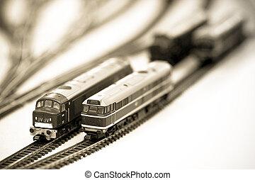 miniature locomotives - sepia locomotives on a miniature...