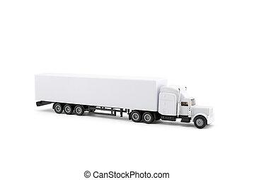 miniature, long, arrière-plan., camion, blanc, caravane