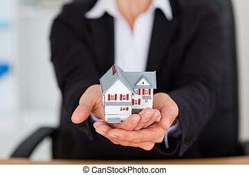 miniature, mains, tenue, féminin, maison
