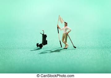 miniature, mand, spille, en, omkring af golf