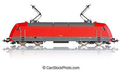 miniature, modèle, locomotive, électrique