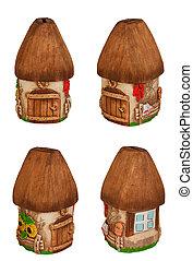 Miniature model country home (piggy bank). Set.