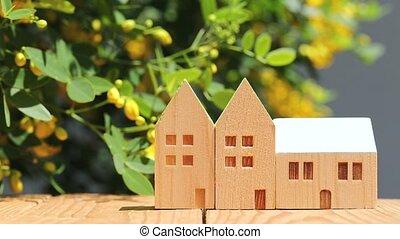 miniature model of house with flower - wooden toy house with...