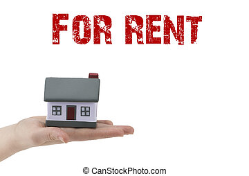 Miniature model of house with text:for rent