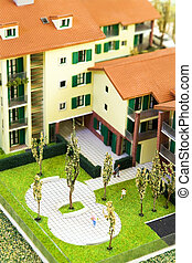 miniature model of residential structures