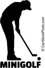 miniature, mot, silhouette, golf