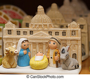 Nativity with St. Peter's basilica in the Vatican