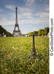 miniature of Eiffel tower in Paris