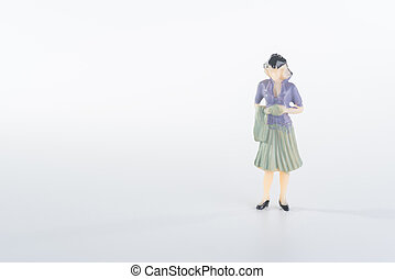 Miniature people business woman on white background