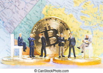 Miniature people: Businessman on stack of coins , business success concept.