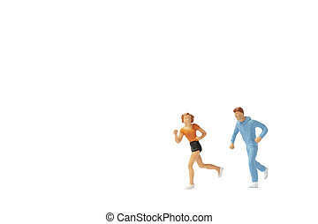 Miniature people : Couple running on white background