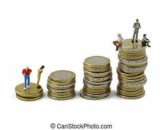 Miniature people on stack of euro coins on white background, concept of imbalance between rich and poor