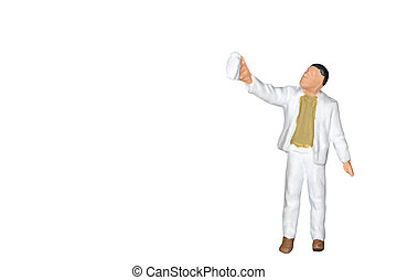 Miniature people : Painter holding a brush isolated on white backgroound