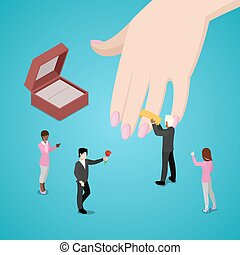 Miniature People Putting Wedding Ring on Brides Hand. Vector flat 3d isometric illustration