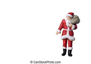 Miniature people Santa Claus carrying bag isolated on white background with clipping path