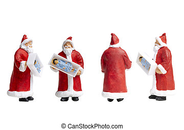 Santa Claus holding gift box isolated on white background with clipping path