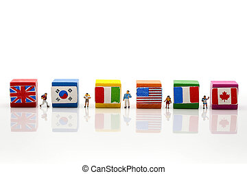 Miniature people : students with international flag using for concept of World Student's Day.