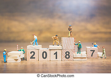 Worker team building wooden block number 2018 - Miniature...