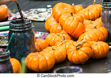 Miniature Pumpkins Wait To Be Painted At Fall Festival